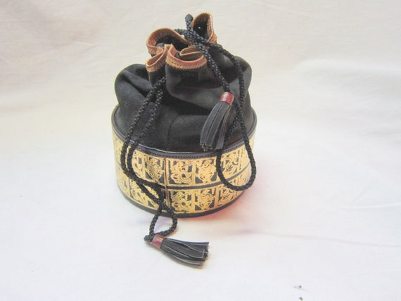 Vintage Black  Pouch Purse Leather Suede and Gold Embossed Bag Petite Elegant Gift for Her Asian Boho