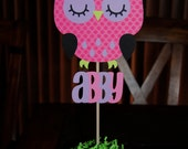 Owl Cake Topper With Childs Name