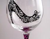 Painted Wine Glass--Pink Zebra High Heel Shoe