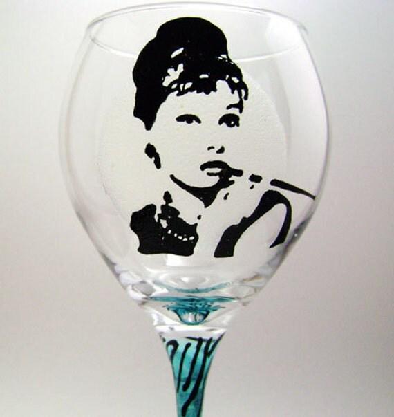 Audrey Hepburn Painted Wine Glass