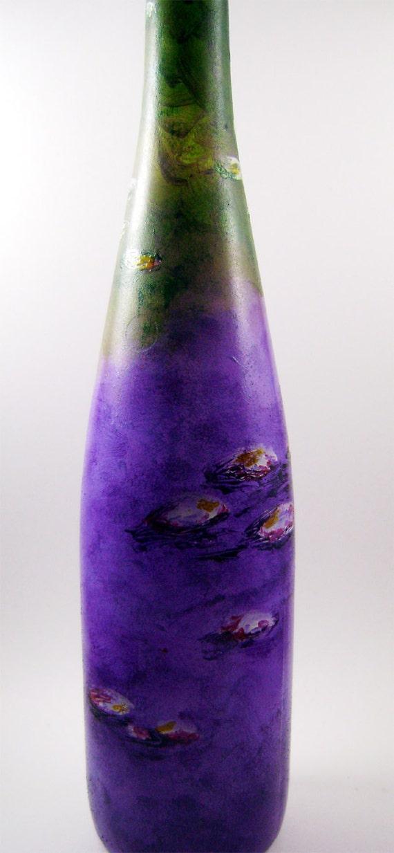 Painted Wine Bottle--Monet Water Lilies