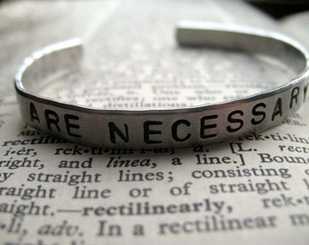 Dreams are Necessary to Life: Hand Stamped quarter-inch Aluminum Cuff by alwaysgreener