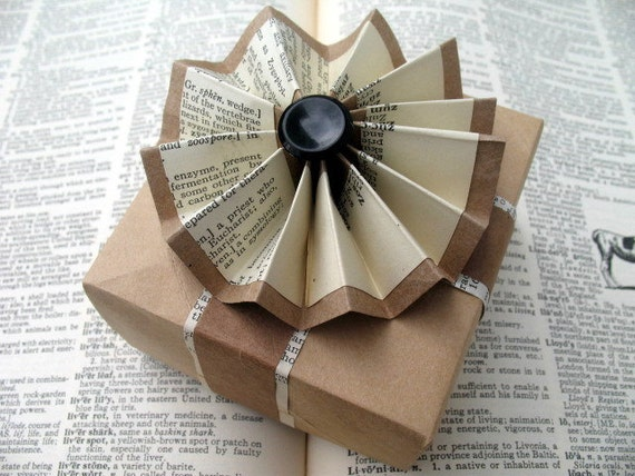 Not Your Mother's Upcycled Giftbox: Origami Box & Card with Dictionary Sacrifice Rosette gift wrap  option