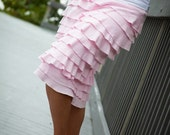 Cotton jersey pencil skirt with cascading ruffles