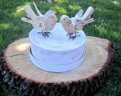 Personalized Two Love Birds Rustic Shabby Chic Wood  Wedding Toppers
