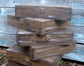 6 Shabby Chic Rustic Vintage Old Style Wood Cigar Box Groom Best Man Groomsmen Gift Set