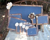 Stain Washed Vintage Rustic Woodland Shabby Chic Chalkboard Wedding Package Chair Signs Message Boards Table Number Signs