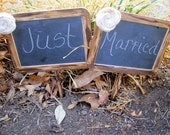 """Two 5""""x7"""" With Paper Flowers Chalkboard On Post Photo Prop Shabby Chic Elegant Vintage Rustic Menu Message Boards Weddings Bride and Groom"""
