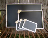 White Vintage Painted Rustic Woodland Shabby Chic Chalkboard Wedding Package Signs Message Boards Table Number Signs