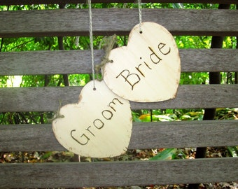 Bride and Groom Chair Signs Shabby Chic Elegant Rustic Woodland Cinderella Romantic Wedding Signs