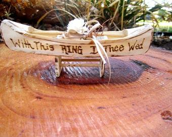 Handmade Wood Ring Bearer or Cake Topper Destination Woodland Rustic Cottage Beach  Garden Shabby Chic Wedding Decorations