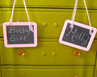 """One 5""""x7"""" Hanging Chalkboard Sign Baby Girl Shower Birthday Party Nursery"""