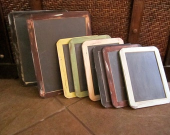 Set of Eight Antique Distressed Vintage Rustic Shabby Chic Two Large 7x10 Six 5x7 Medium Chalkboards Message Photo Prop Wedding Signs