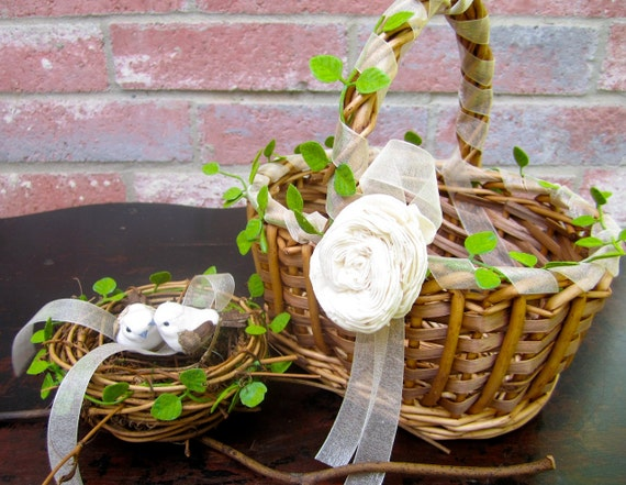 Personalized You Pick The Colors Custom Bird Nest Ring Bearer Rustic Flower Girl Basket  Elegant Vintage Shabby Chic Wedding Decorations