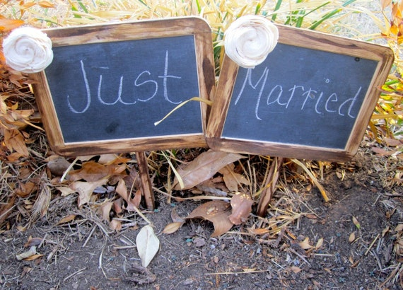 "Two 5""x7"" With Paper Flowers Chalkboard On Post Photo Prop Shabby Chic Elegant Vintage Rustic Menu Message Boards Weddings Bride and Groom"