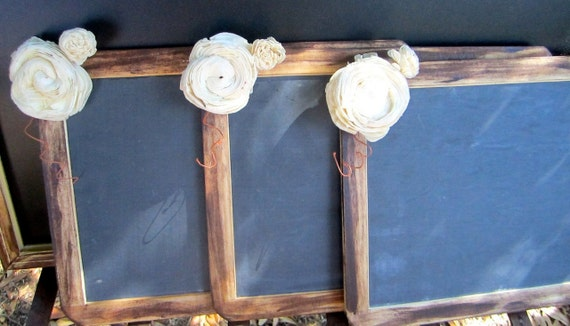 Set of Three Antique Distressed Vintage Rustic Shabby Chic Large 7x10 Framed Chalkboards With Flowers Menu Message  Photo Prop Wedding Signs