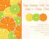 Citrus Party Invitation (Birthday, Baby Shower, Engagement, Rehearsal) Printable Custom Preppy