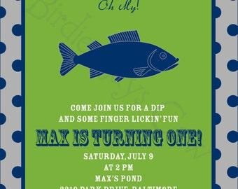 Fish Fry Invitation (Birthday, Baby Shower, Engagement, Rehearsal) Printable Custom Preppy