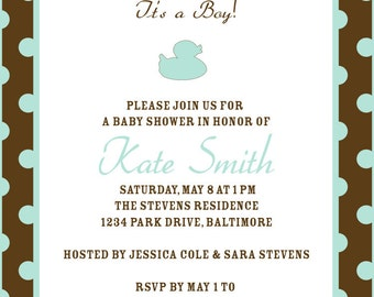 Printable Custom Baby Boy Shower Invitation