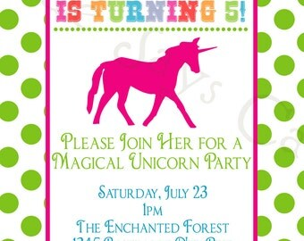 Unicorn Birthday Party Custom Printable Invitation