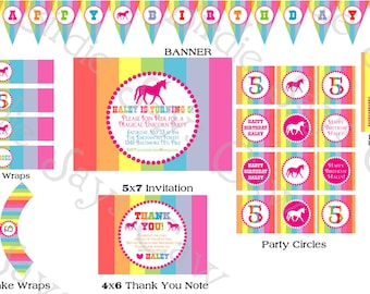Rainbow Unicorn Birthday Party Pack Printable Custom DIY