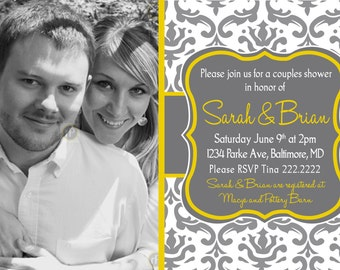 Printable Elegant Photo Bridal Shower Invitations Grey and Yellow Damask Design
