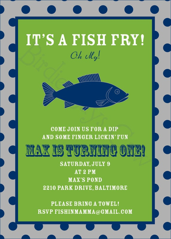 Fish Fry Invitation Birthday Baby Shower Engagement