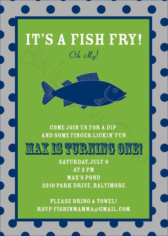 Items similar to Fish Fry Invitation (Birthday, Baby Shower, Engagement, Rehearsal) Printable ...