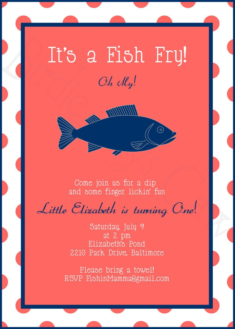 Printable Custom Preppy Fish Fry Invitation Birthday Baby