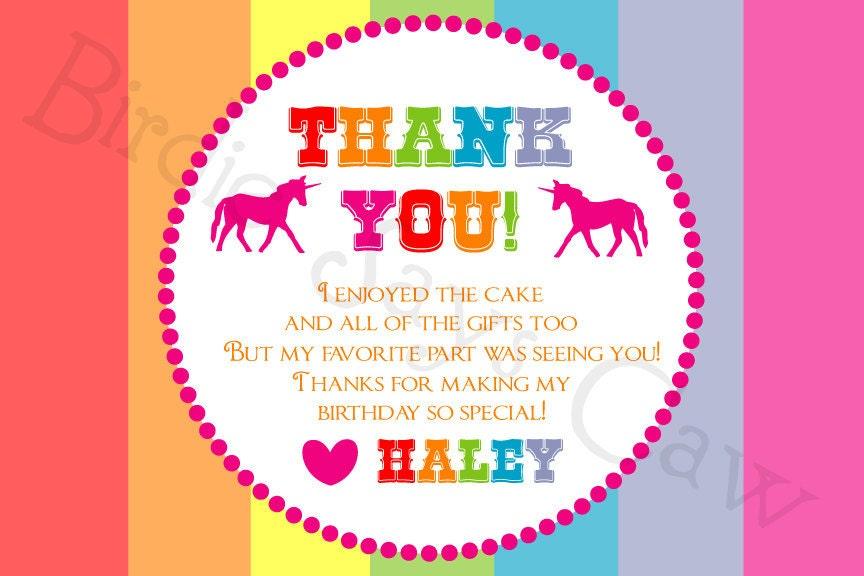 Custom Printable Rainbow Unicorn Thank You Card