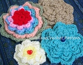 Crochet Flower Pattern Blossom Applique or Brooch PDF301