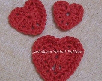 Crochet Heart Pattern, Hearts Appliques, Three Small Hearts PDF302