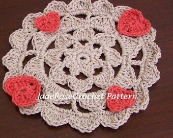 Crocheted Doily Pattern, Crochet Pattern Decor, Crochet Heart Doily, Crochet Heart Decor,  PDF507