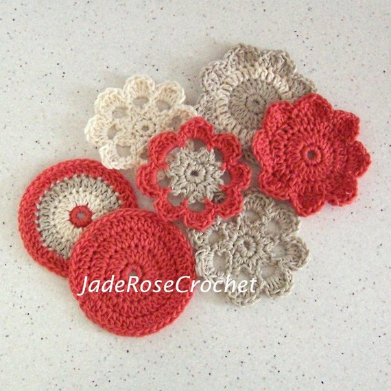 Crochet Coaster Pattern, Mandala Coaster Crochet Pattern, Flowers Coaster Crochet Pattern, Easy Coasters, Plus Bonus Round Coaster PDF506