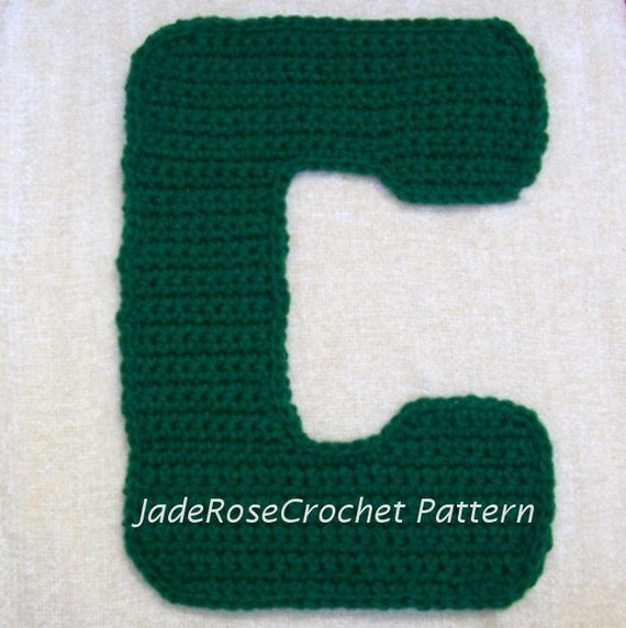 Free Crochet Letter Pillow Pattern : Crochet Letter C Pattern 3D pillows 5 Sizes Appliques