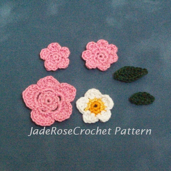 Crochet Flower Pattern Thread : Crochet Flowers Pattern Fine Thread Crochet Flowers and Leaves