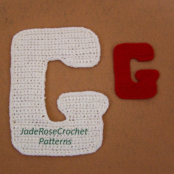 Free Crochet Letter Pillow Pattern : Crochet Letter G Pattern 3D pillows 5 Sizes Appliques