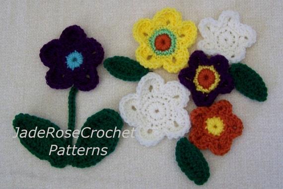 Crochet 3D Flower Patterns 2 Flowers 2 Leaves by ...