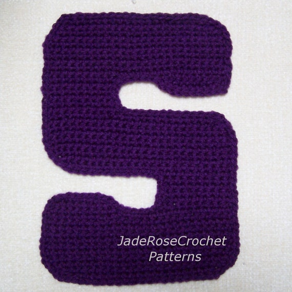 Free Crochet Letter Pillow Pattern : Crochet Letters Patterns S Alphabet Appliques by ...