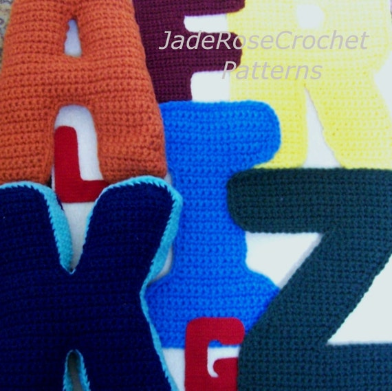 Crochet Letters Pattern Alphabet 3D Pillows Block Letters, Appliques in 5 sizes All 26 Letters PDF file