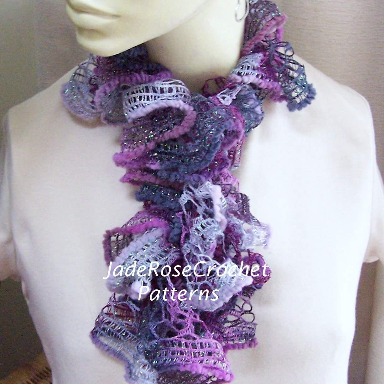 Free Ruffle Yarn Crochet Patterns : Crochet Scarf Pattern Ruffled Scarf Pattern by JadeRoseCrochet