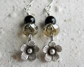 Earrings - Sterling Silver Flower Charm Earrings - Beige and Black - Swarovski Crystal and Pearls - READY to SHIP