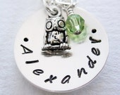Owl Necklace - Sterling Silver Personalized Necklace - Hand Stamped Jewelry Name - Swarovski Birthstone