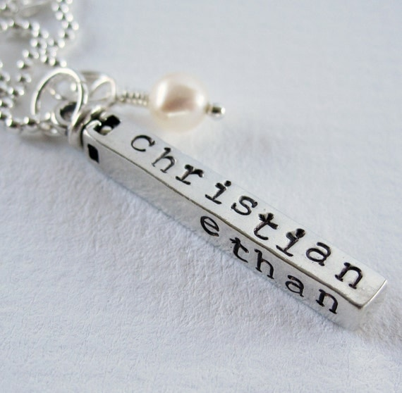 18th Birthday Cz T Bar Sterling Silver Heart Bracelet Can: Swivel Bar Personalized Mom Necklace By PatriciaAnnJewelry