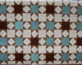 RESERVED for Shannon Double/Queen Sage Green/Brown Star quilt