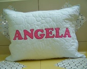 Personalized Quilted Appliqued Pillow Sham Standard Bed