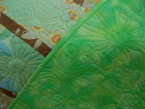 Lap Quilt Green Tangerine- Luscious Fruit Slices
