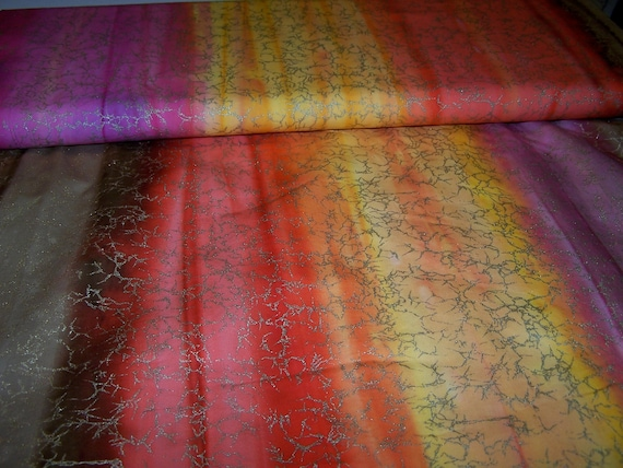 Multicolor Red Yellow Pink Quilting fabric