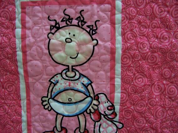 Funny Babies Girl Quilt Modern