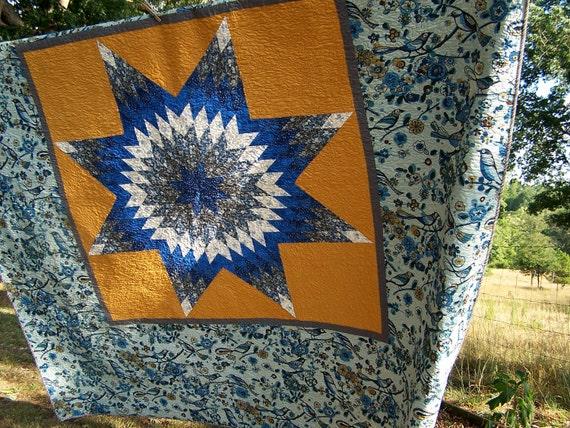 Star Bird King Bed Quilt Blue Gold